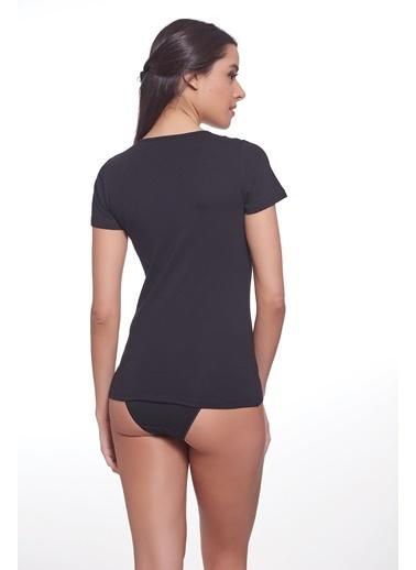 Sevim Renkli T-Shirt Siyah
